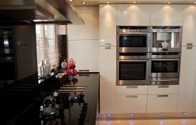 High Gloss Cream and Walnut Contemporary Kitchen